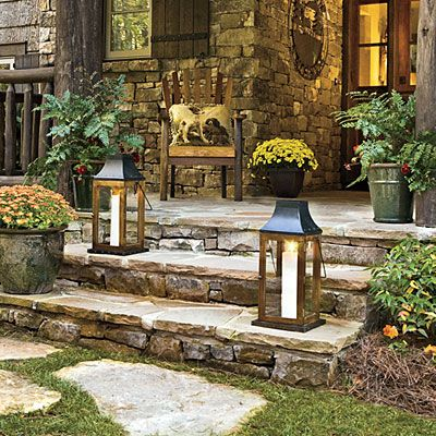 Beautiful!!!!!!....  Stepping Stone Entry  Randomly placed stepping-stones crafted from local granite lead to the front porch's wide steps. Hand-hewn posts and railings, along with graceful brackets, are crafted from regionally harvested locustwood to further enhance this cottage's connection to the land. Local fieldstone clads the porch walls.