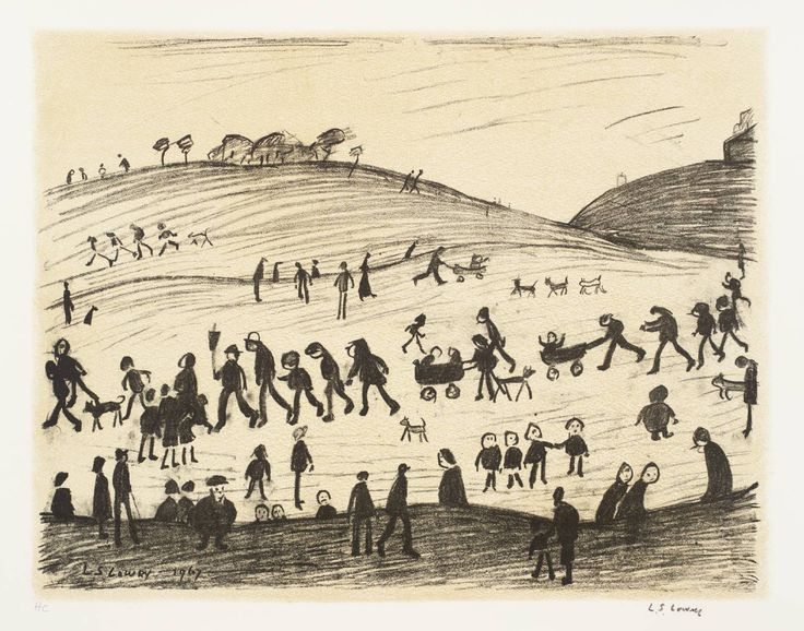 A Hillside  Date  1967-8  Medium  Lithograph on paper  L.S. Lowry (1887-1976) - Lithographs