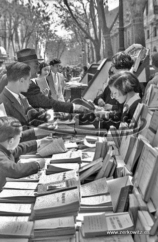 Spain. Ramblas, Book Fair, Barcelona, 1930s