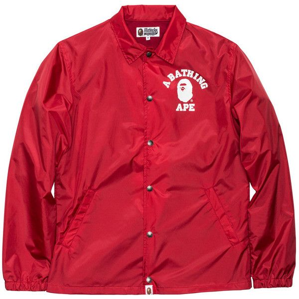 BAPE COLLEGE COACH JACKET featuring polyvore, women's fashion, clothing, outerwear, jackets, coach jacket, red jacket and a bathing ape