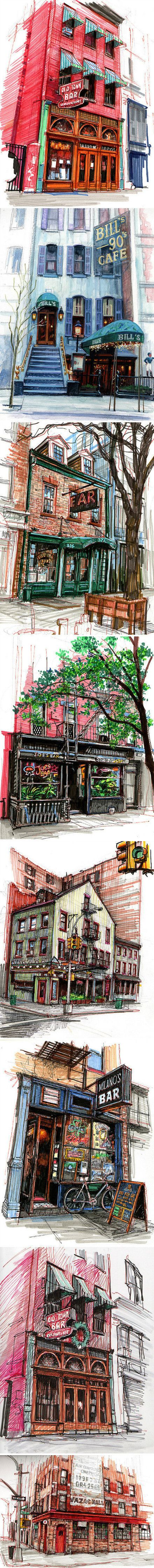 艺术家Stephen Gardner用他的彩笔记录下来一座又一座他光顾过的酒吧和咖啡馆,画面非常纪实并具有场景感,仿佛诉说着每个酒吧或咖啡馆曾经发生的故事……