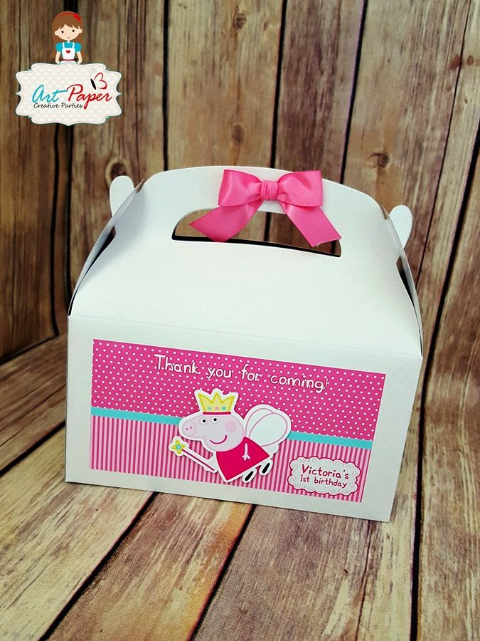 10 Peppa Pig treat Box - Candy box - favor box- good bags - party favors, party…