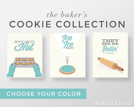 Funny Kitchen Print Set - Cookie baking bakers minimal modern retro typography posters aqua teal cute mid century modern rolling pin icing by noodlehug