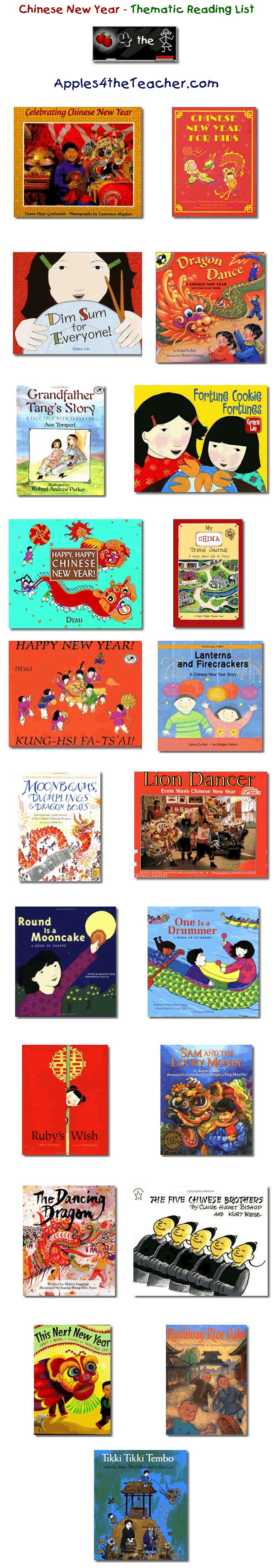 Suggested thematic reading list for Chinese New Year - Chinese New year books for kids.