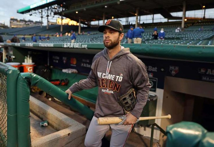 Giants-Dodgers tickets plunge to $6 after brutal start  -  April 24, 2017:    San Francisco Giants' Brandon Belt before playing Chicago Cubs in Game 1 of the National League Division Series at Wrigley Field in Chicago. IL, on Friday, October 7, 2016.