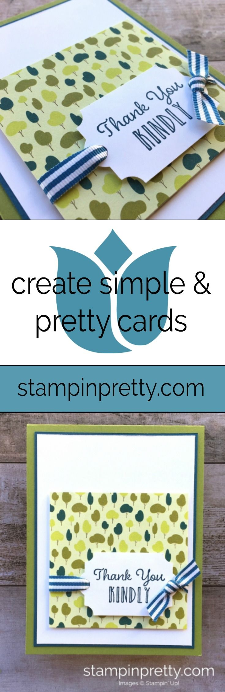 Create a simple thank you card using Stampin Up Hanging Garden Stamp Set- Mary Fish Stampin Up Ideas . #maryfish #stampinpretty