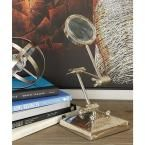 6 in. x 20 in. Nickel Silver Aluminum Magnifying Glass Decor with Adjustable Stand, Metallics