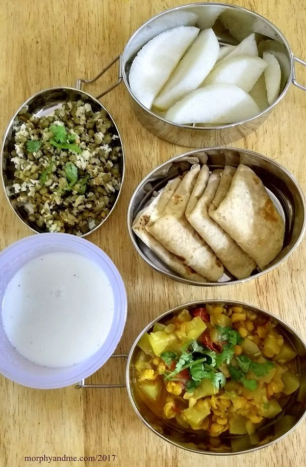 lunchbox ideas- day 1: fruits and green moong sundal for snack break. Chappati's , bottlegourd-lentil sabzi , buttermilk for lunch.