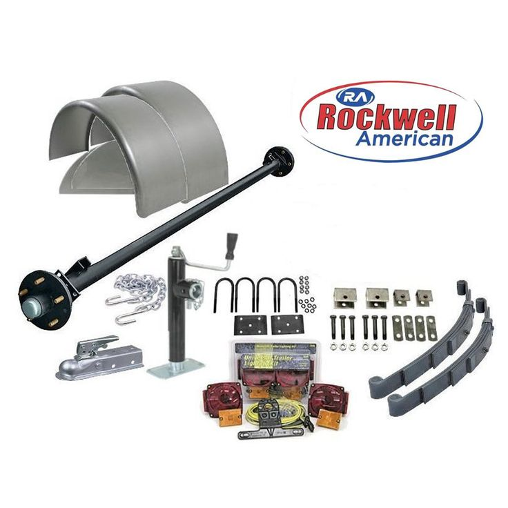 "6′ 6"" Wide Utility Trailer Parts Kit – 3,500 lb Rockwell American Posi-Lube Idler Axle– Model 1112 Standard ( Complete Kit without Wheels and Tires)"