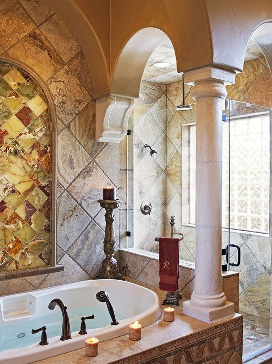 Mediterranean Style Bathroom With Columns And A Mix Of Marble And Onyx And  A Glassed In Shower (via 110 Golden Bear   Mediterranean   Bathroom    Austin   By ... Part 72