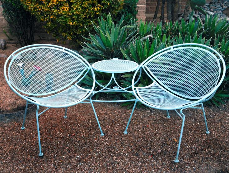 vintage salterini tete a tete lounge chair set table mid century modern outdoor - Mid Century Modern Patio Furniture