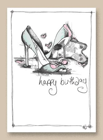 A beautiful sketch of a pair of ladies shoes printed onto a delicately embossed ivory coloured board.
