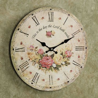 The Day the Lord Hath Made Roses Wall Clock