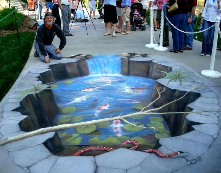 Rod tryon koi pond 3d chalk pavement art street art so for Koi pool santa