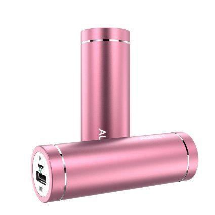 AUKEY Batterie Externe 5000mAh mini batterie portable avec 2 ports USB (Sortie5V/ 2A, Entrée 2A) pour iPhone 6s / iPhone 6 / iPhone 6s plus / iPhone 6 plus / Samsung Galaxy S6 et les autres smartphones (Rose)