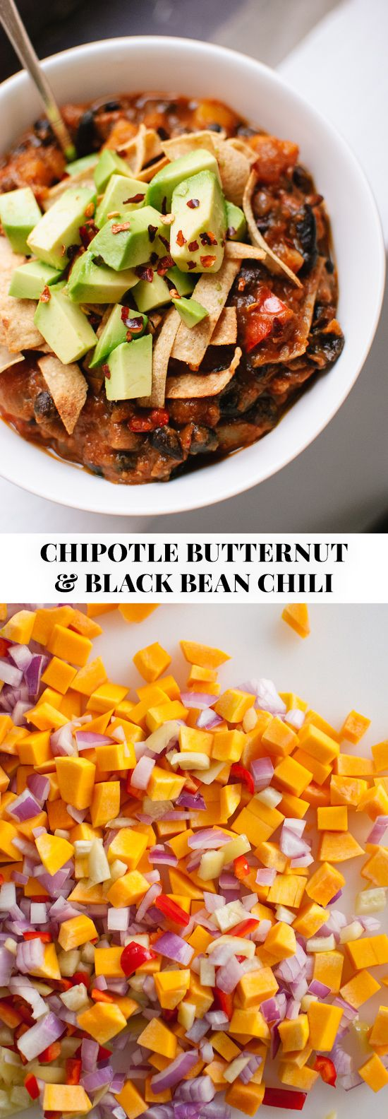 Chipotle butternut squash chili recipe, perfect for game days and cold weather! (Vegetarian, vegan and gluten free.) - @cookieandkate