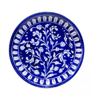 Blue Pottery Floral Decorative Wall Mount Plate
