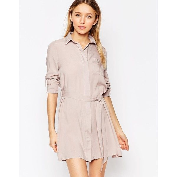 Club L Relaxed Shirt Dress ($36) ❤ liked on Polyvore featuring dresses, grey, long shirt dress, zip front dress, shirt dress, viscose dress and grey shirt dress