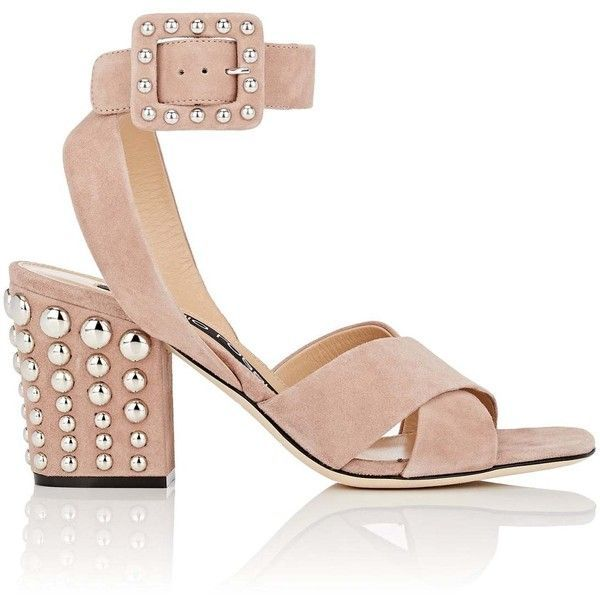 Sergio Rossi Women's Elettra Studded Suede Sandals (53.805 RUB) ❤ liked on Polyvore featuring shoes, sandals, ankle strap shoes, crisscross sandals, buckle strap sandals, ankle wrap sandals and strappy high heel sandals #sergiorossishoes