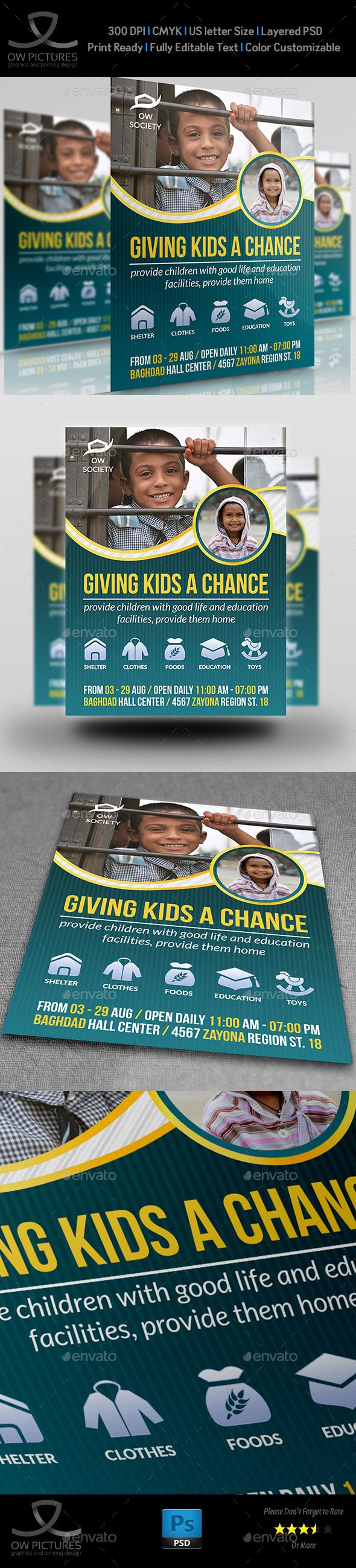 Kids Charity Flyer Template #flyertemplate Buy and  Download: http://graphicriver.net/item/kids-charity-flyer-template/12163821?ref=ksioks