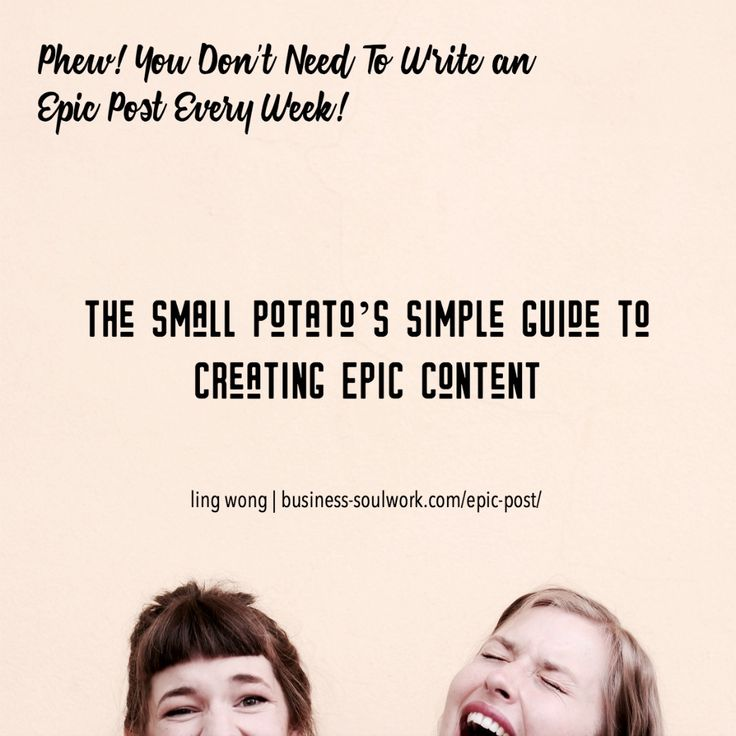 Epic content is groundbreaking and thought-provoking. It has the potential to change the course of the conversation.  These articles are the cornerstones in your body of work.  They give you the confidence and footing you need to grow into the next phase of you.  You don't have to publish an epic post every week... The small potato's simple guide to creating epic content: http://business-soulwork.com/epic-post/  #contentmarketing #blogging #bloggingforbusiness #solopreneur #mompreneur…