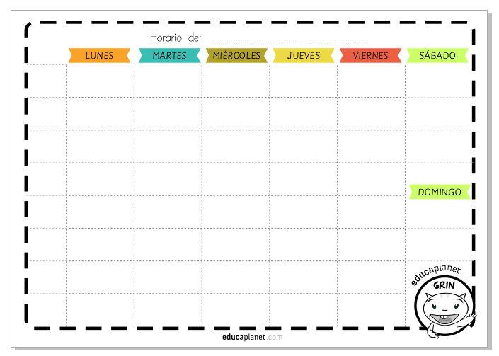 Imprime este horario semanal o agenda para organizar la semana de tus peques: en la escuela o para las extraescolares y es GRATIS.