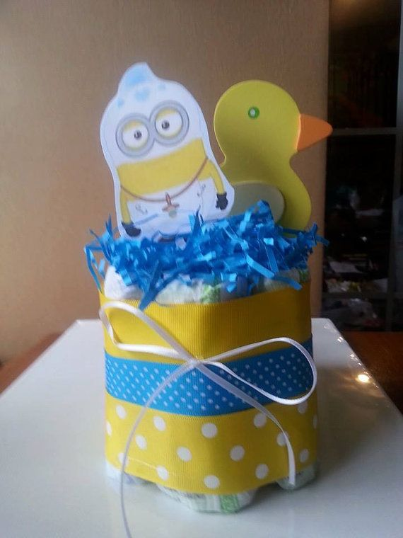 bay minion diaper cake baby shower gift centerpiece ducky baby