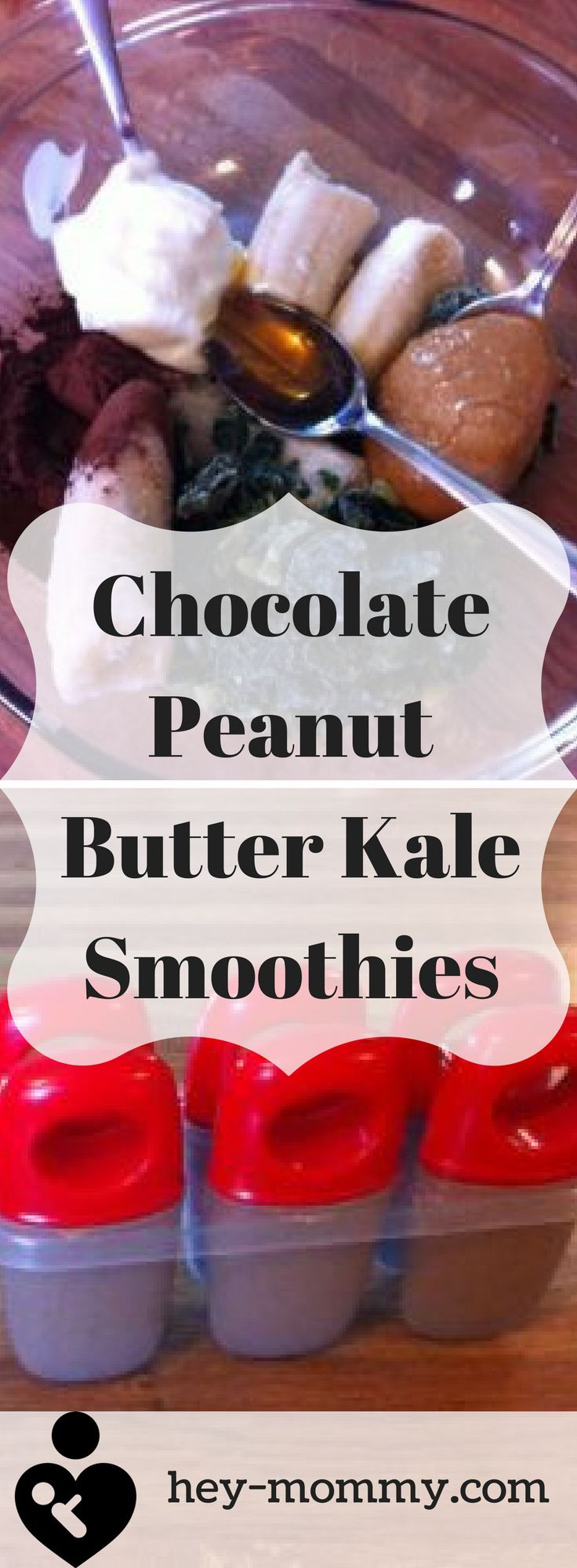 Healthy smoothies and popsicles. Chocolate Peanut Butter Kale Smoothie recipe.
