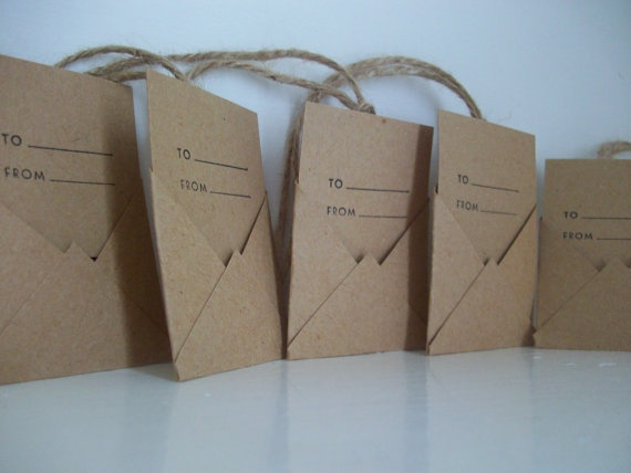 Recycled Kraft Paper Mini Envelope Tags by LaPommeEtLaPipe on Etsy, $5.00