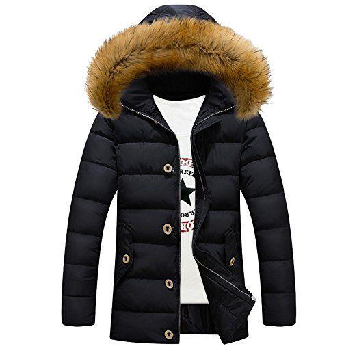 [Herren Winterjacke] Daunenjacke mit Fellkapuze Outdoorjacke verdickte Parka Mantel Outwear-Schwarz-XL