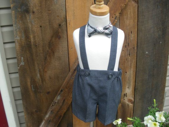 Boys gray shorts, boys suspender shorts, ring bearer shorts, charcoal gray,  available to order 12m,18m 2T, 3T 4T, 5T on Etsy, $24.90