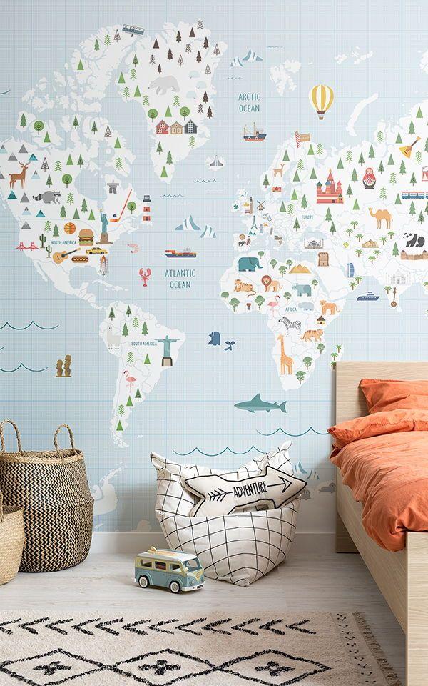 Grid Paper Wallpaper Blue Map Style Muralswallpaper Boys