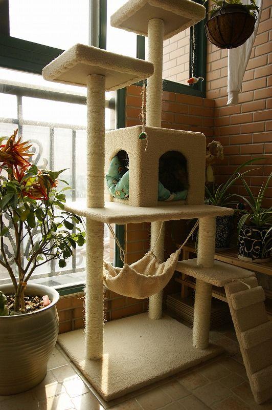 【予約販売】【送料無料】キャットタワー 大きめ150cm 猫ちゃん喜ぶハンモック付き 猫タワー ネコタワー 据え置き ベージュ 黒 激安 おすすめ 人気商品 爪とぎ【RCP】【05P02Mar14】【楽天市場】