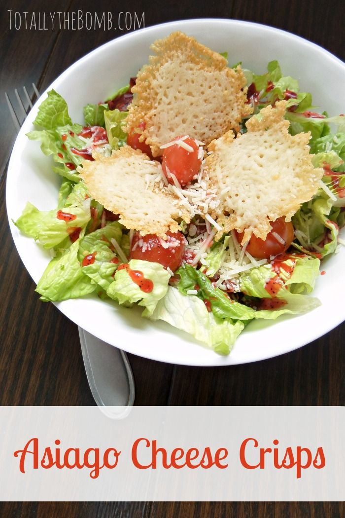 Next time you make a salad consider taking a few extra moments to make these Asiago Cheese Crisps. They are a great gluten free alternative to croutons!