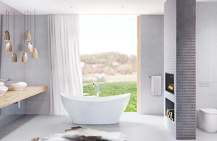 Gorgeous calming bathroom with a view.