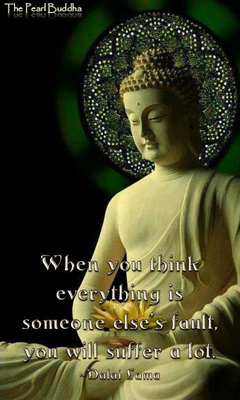 When you think everything is someone else's fault, you will suffer a lot. ~Dalai Lama