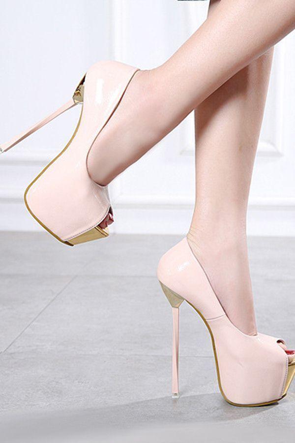 8f0fb10f9e3b Light Pink Two Tone Pu Peep Toe Platform Stiletto High Heel Pumps ...