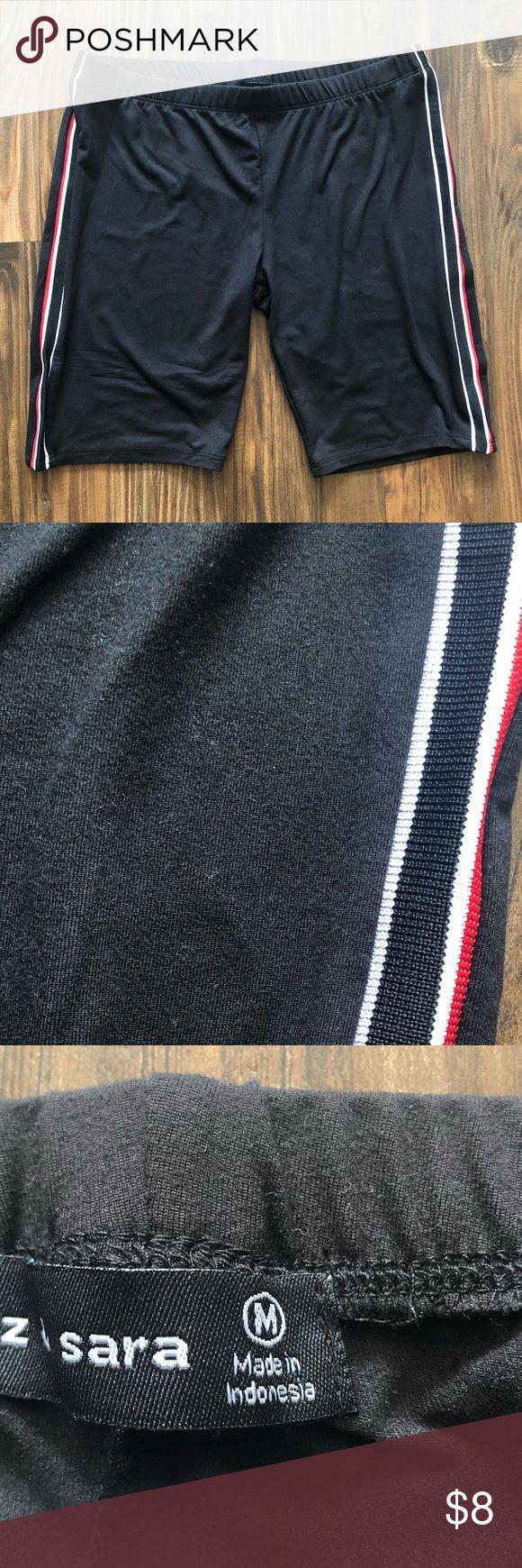 Black biker shorts Juniors black biker shorts. Black white and red stripes down …   – My Posh Picks