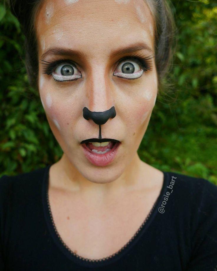 """⊙ ...Monday got me feeling like a deer in the headlights... ⊙"""" (@rosie_bart) on Instagram #deer #halloween #facepaint #cosplay"""