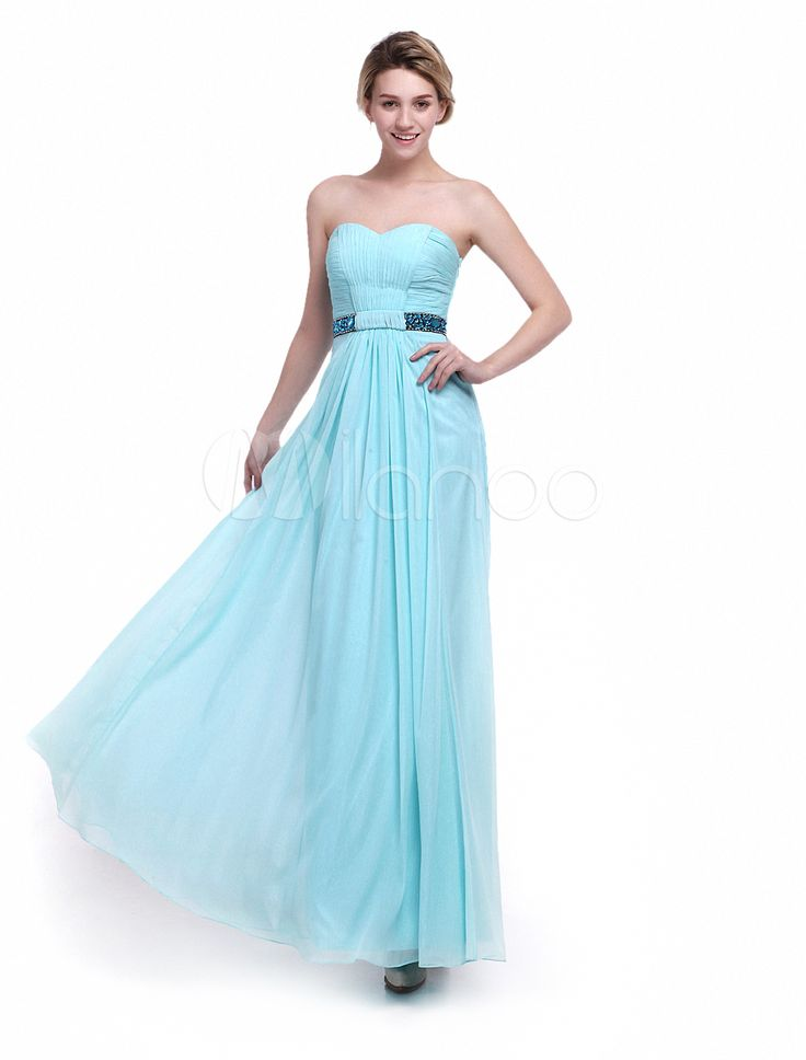 A-line Floor-Length Light Sky Blue Ruched Chiffon Bridesmaid Dress with Sweetheart Neck