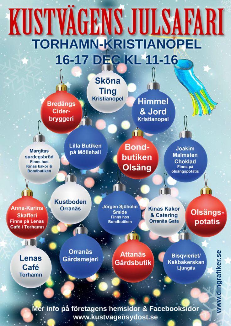 Åk en runda på den underbara kustvägen mellan Torhamn och Kristianopel och köp era julklappar eller godsaker till julbordet. Det är öppet på många ställen hos våra småföretagare den här helgen och det finns något för alla. På några av ställena går det även att sitta ner och dricka kaffe och äta lite gott. Välkomna …