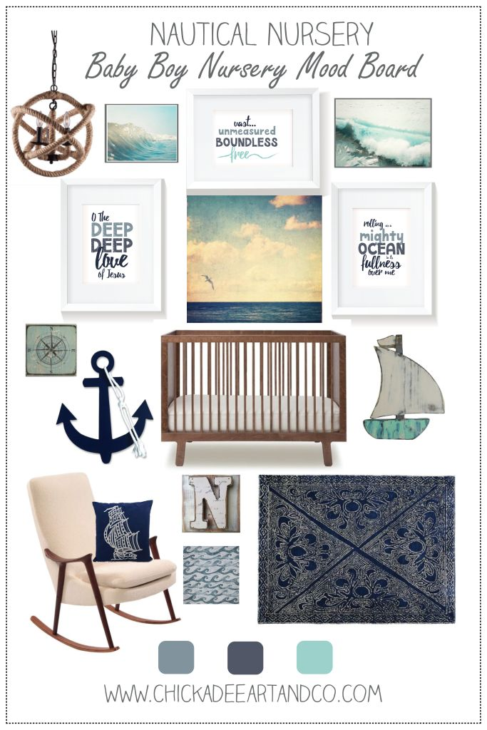 Gender neutral nautical nursery   full of free printables and etsy favorites  http://www.chickadeeartandco.com/nautical-nursery-mood-board/
