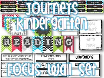 Journeys Reading Series Kindergarten Reading Focus Wall Set Labels, Flip Charts, Banners CUTE!!! {Editable Labels} {Bright Colors}