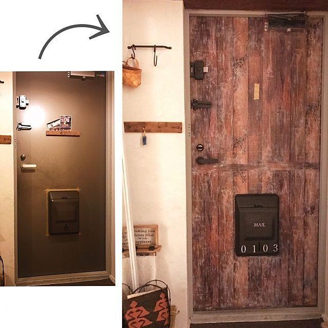 玄関 入り口 アンティーク加工 塗装 ステンシル アイアンペイント
