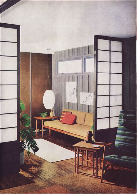 Mid century Living Room with a strong Japanese influence