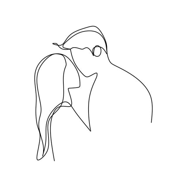 Line Woman Love Man Sketch Illustration One Silhouette Symbol Continuous Happy Couple Romance Drawing White Outline Line Art Drawings Line Art Minimal Drawings