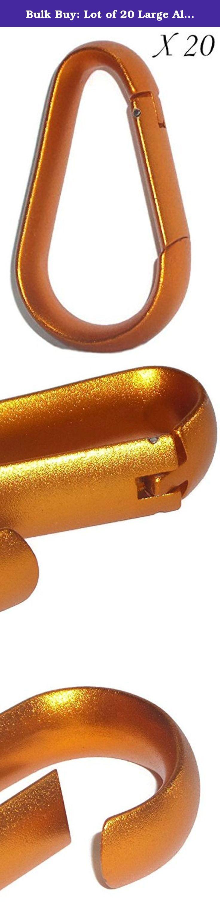 Bulk Buy: Lot of 20 Large Aluminum Non-Load Bearing Metallic Orange Carabiners. Price is for 1 case of 20 carabiners - color is a metallic orange.