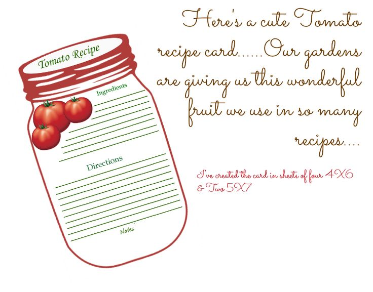 Free Printable Mason Jar Recipe Cards And Matching Gift Tags