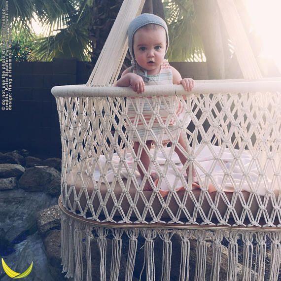 Hanging Swinging Baby Cradle in Macrame Oval Shape Cream