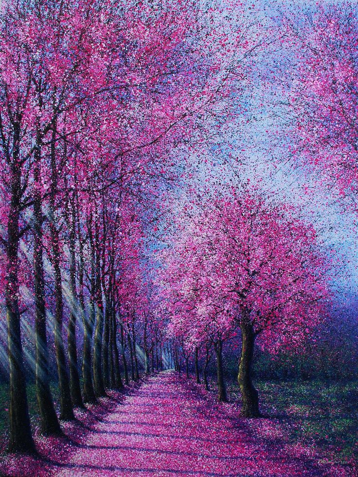 WOW!! The use of colours is amazing and the technique used is good. The painter used light thin dotted brushstrokes  to show the actual object(trees) and how the leaves smoothly flow away.